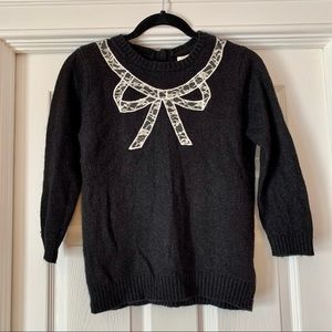 Forever 21 Soft Black Mohair Sweater with Lace Bow